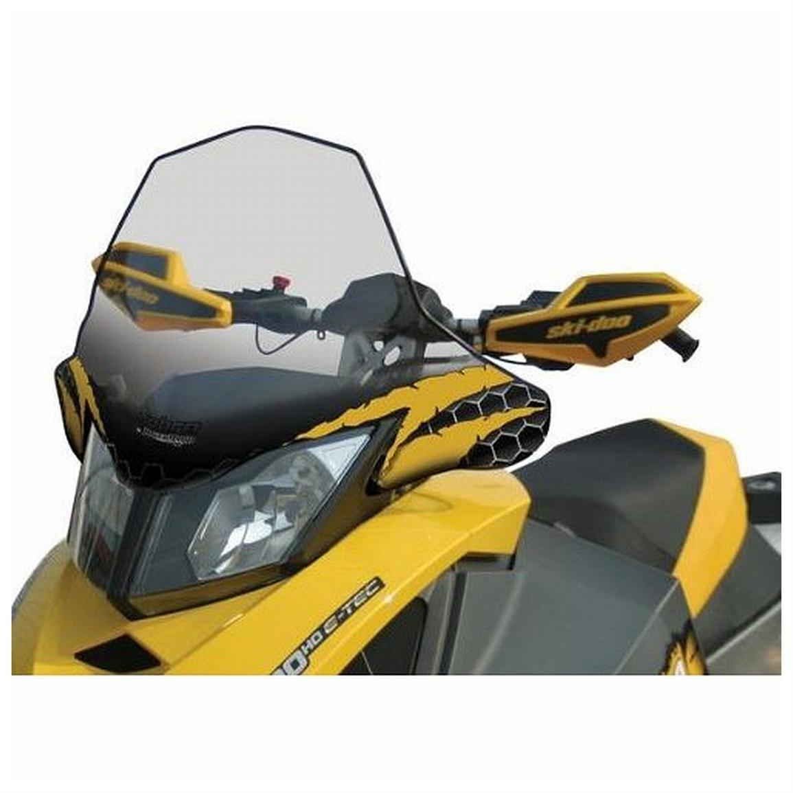 17 1/4 inch PowerMadd® Cobra Snowmobile Windshield for Ski-Doo REV XP Chassis, Clear with Yellow Accent