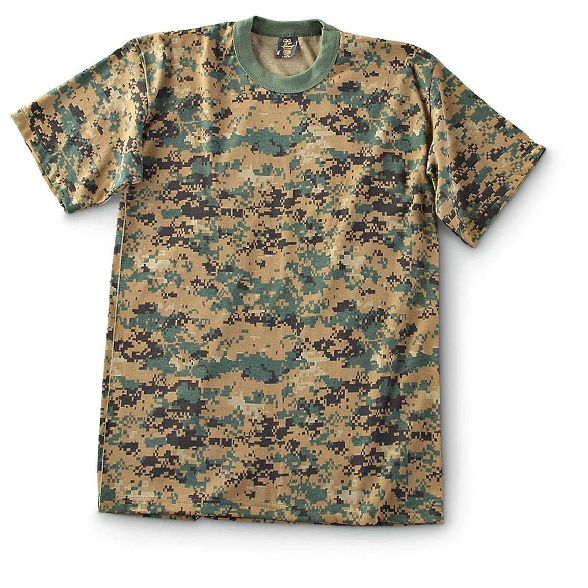Military-Style Short-Sleeve T-Shirts, 2 Pack, New, Digital Woodland