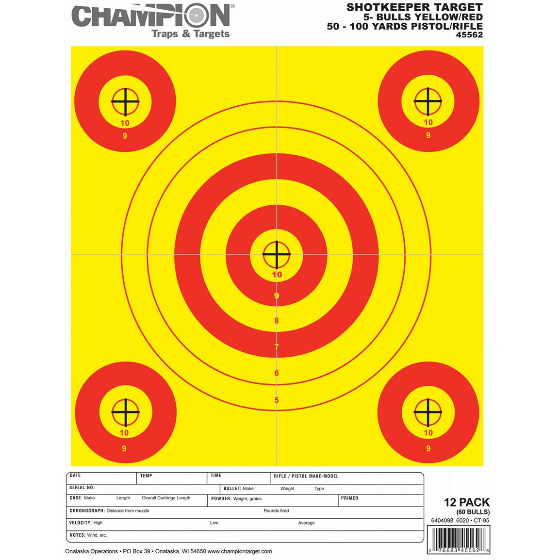 Champion® Shotkeeper™ Small Yellow / Red 5-Bull Targets