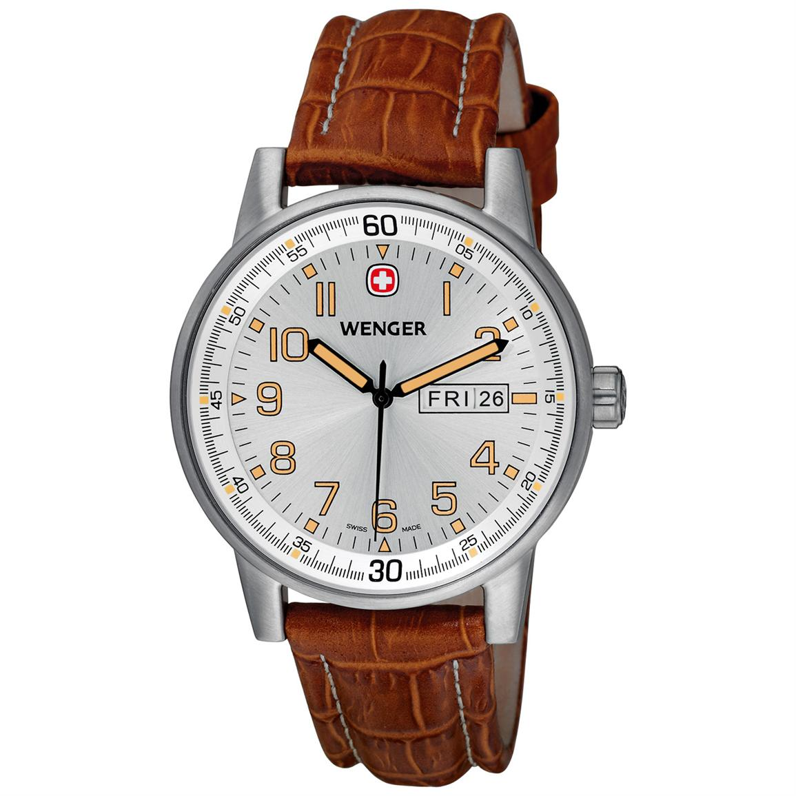 Men S Wenger 174 70170 Commando Day Date Xl Leather Band