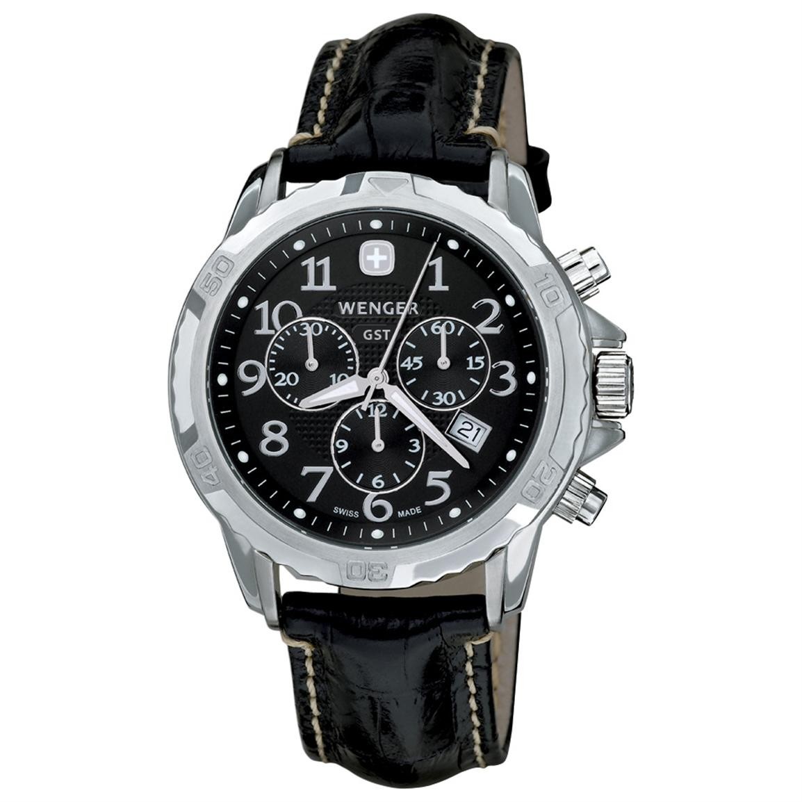 Men's Wenger® 78255 GST® Chronograph Watch with Leather Band
