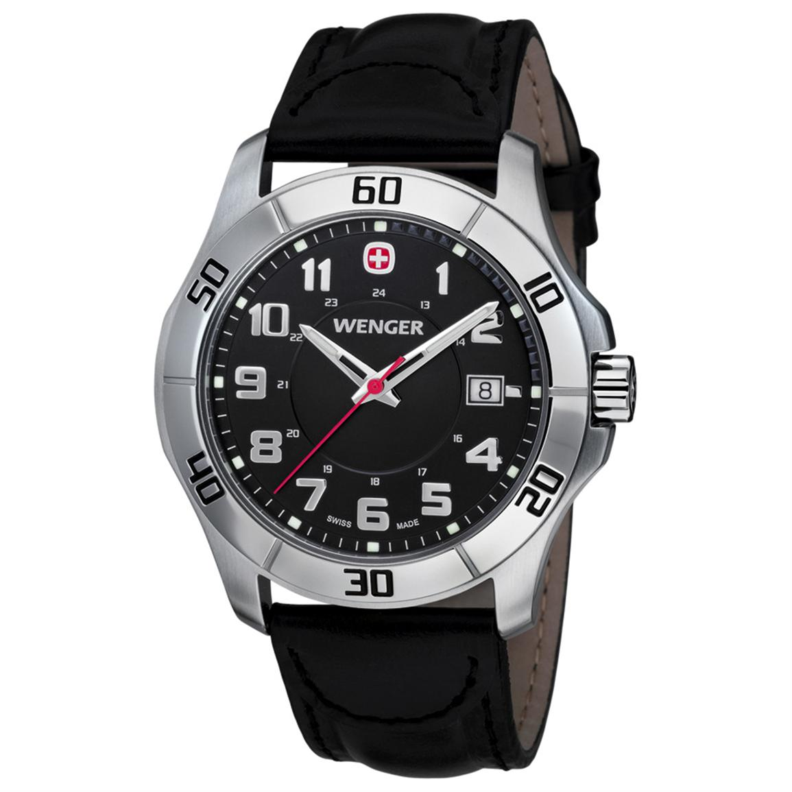 Men's Wenger® 70485 Alpine Watch with Leather Band, Black
