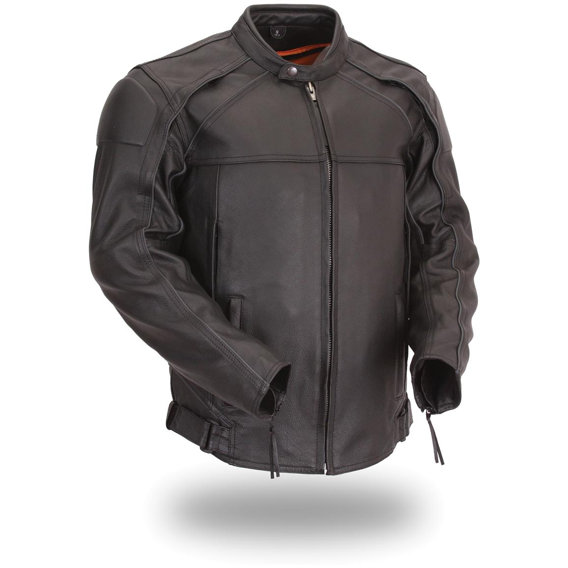 Men's First Classic® Vented Scooter Jacket with Blackened-Out Highly Reflective Piping, Black