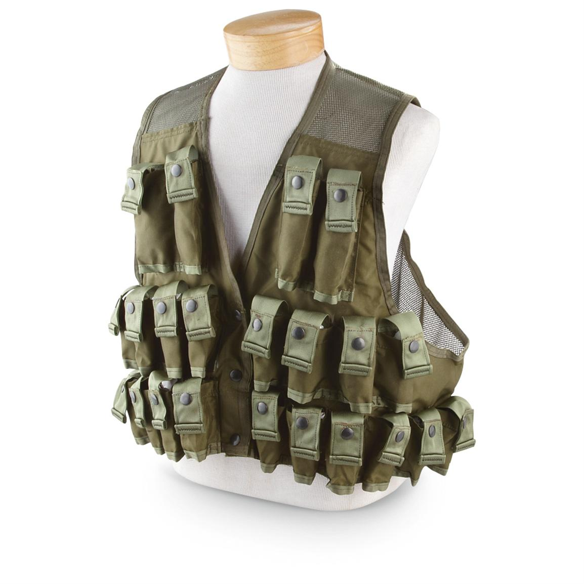 New U.S. Military Surplus Ammo Carrying Vest, Olive Drab