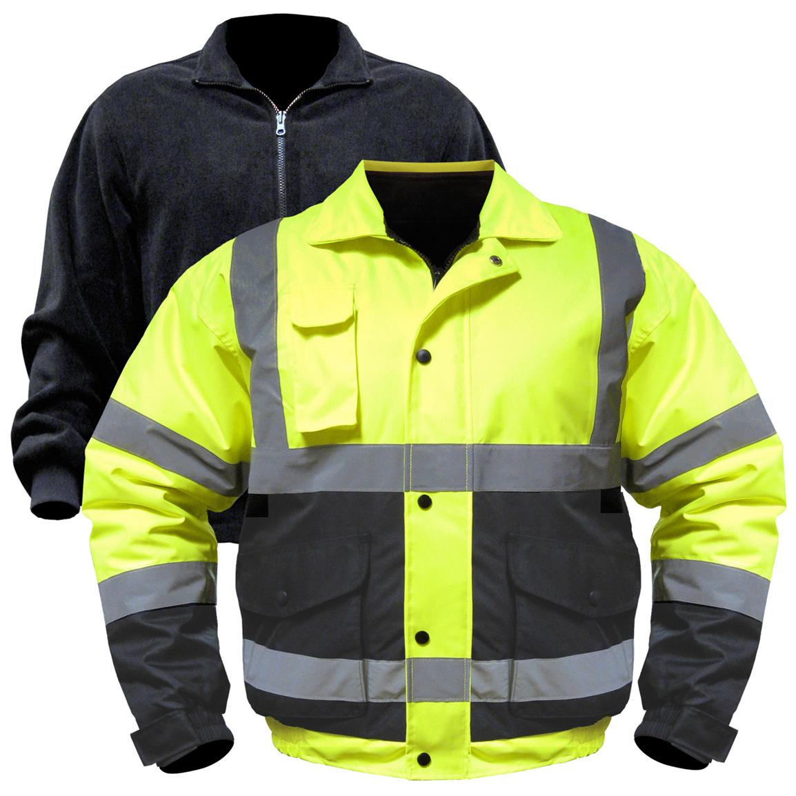 Utility Pro Wear Hi Vis Bomber Jacket with Zip-out Liner, Hi Vis Yellow