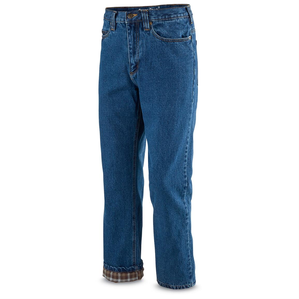 Guide Gear Men's Flannel-Lined Denim Jeans, Stonewash