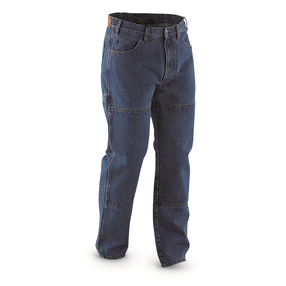 Guide Gear Men's Utility Jeans, Stonewash; Double-layer leg panels for rugged strength