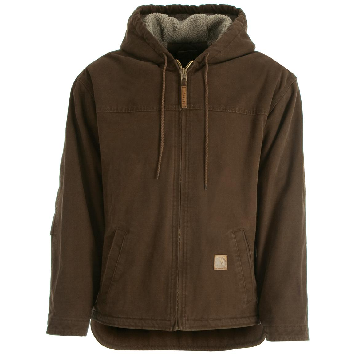 Men's Berne® Sanded Hooded Work Jacket, Bark