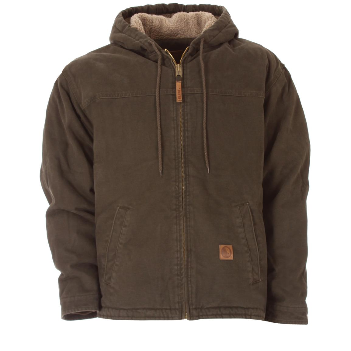 Men's Berne® Sanded Hooded Work Jacket, Olive Duck
