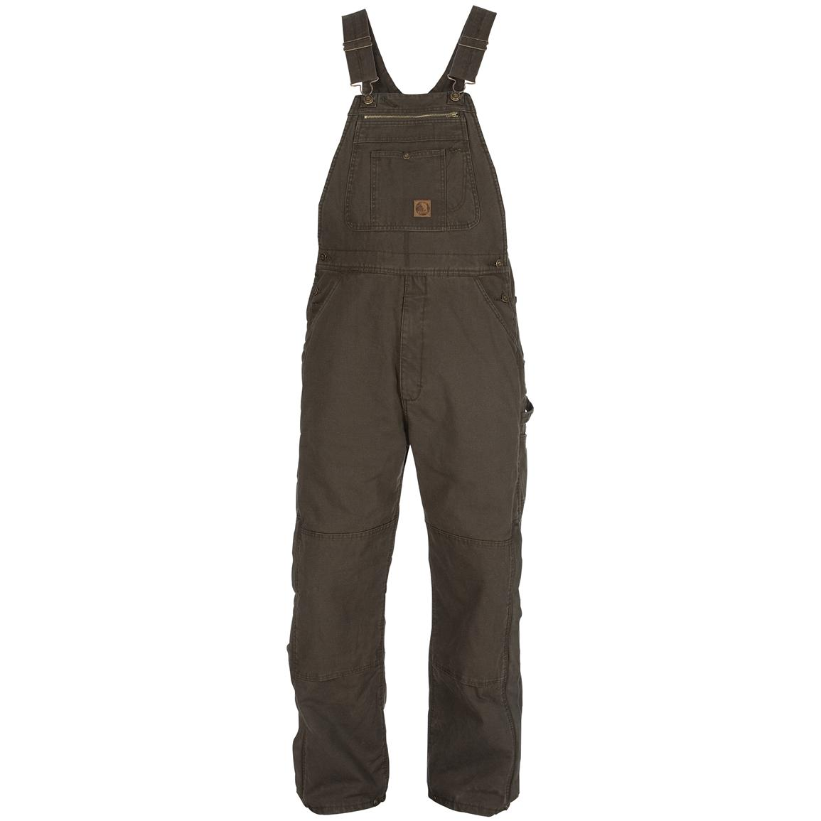Men's Berne® Traditional Washed Insulated Bib Overalls, Olive Duck