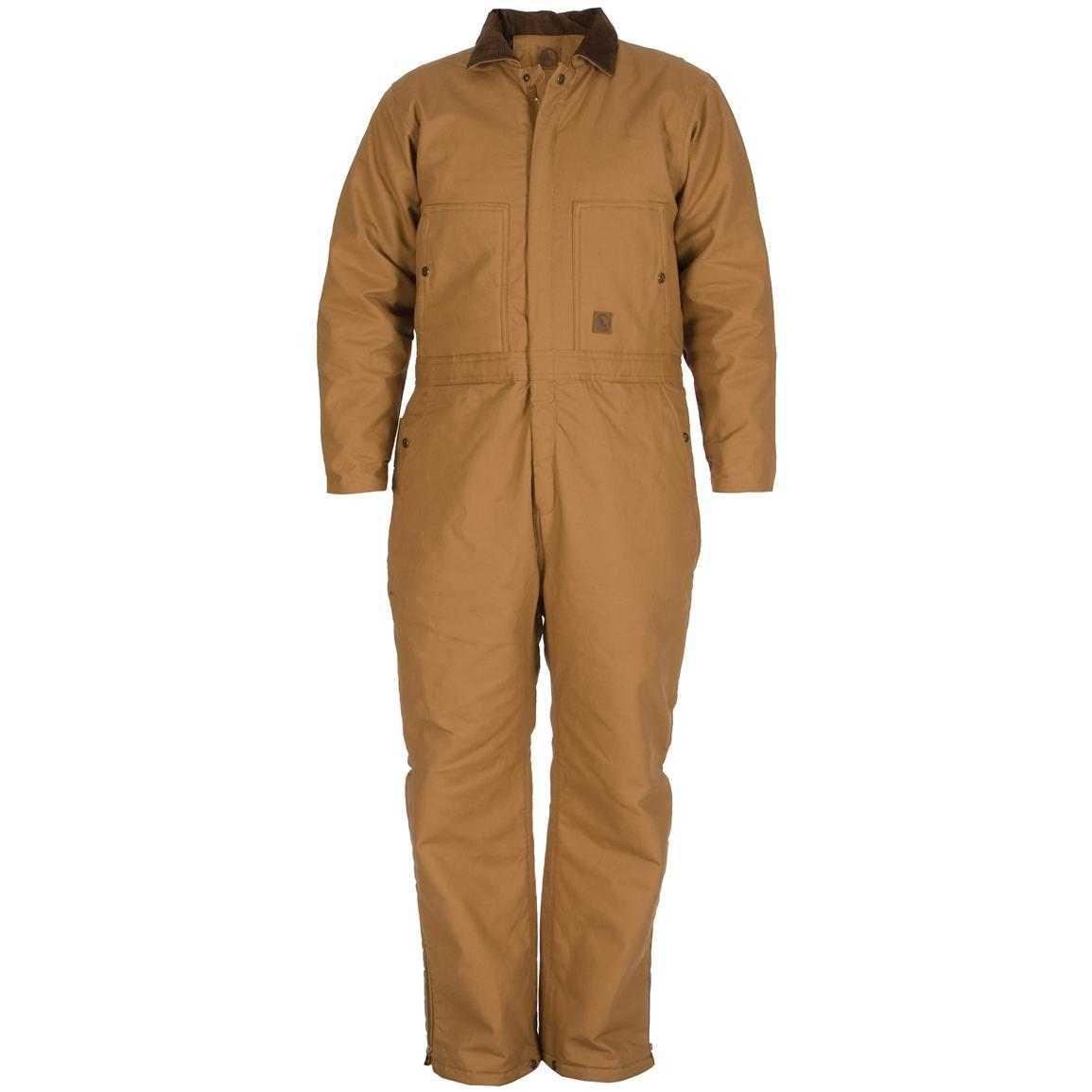 Men's Standard Insulated Coveralls, Brown Duck