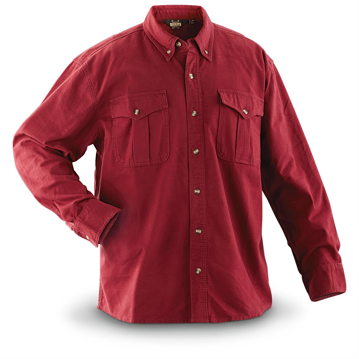 Guide Gear Men's Cotton Chamois Shirt, Red