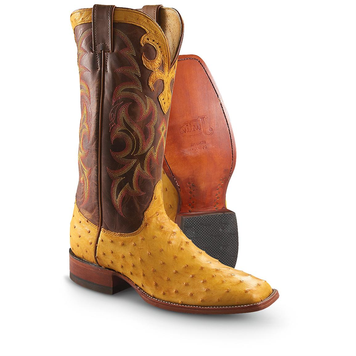 "Men's Justin® 14"" Full Quill Ostrich Cowboy Boots, Sunset"