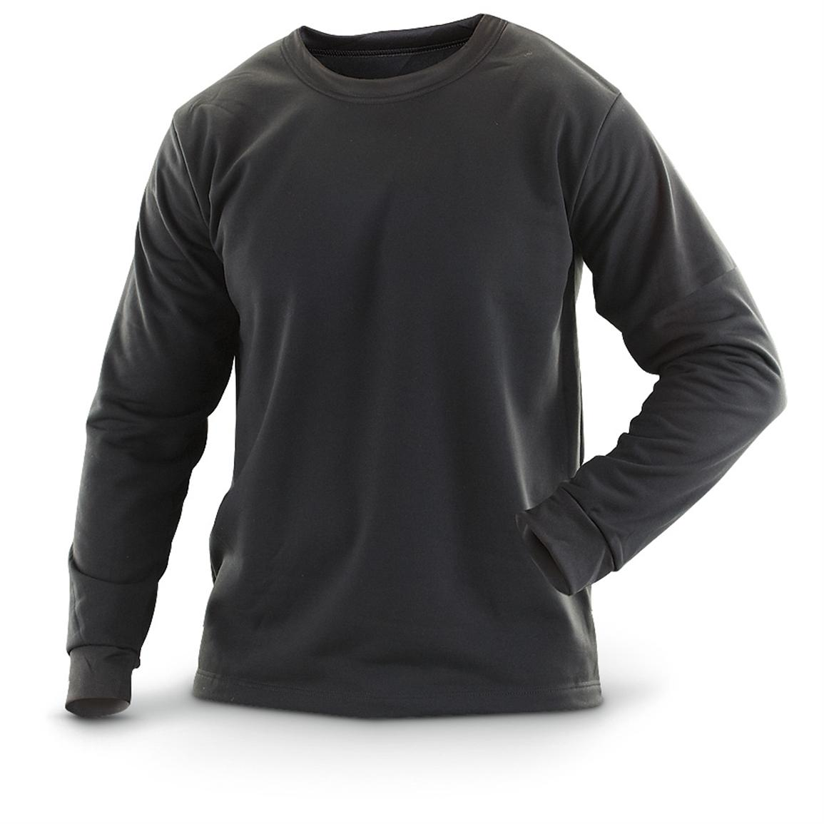 New U.S. Military Surplus Long-sleeved Midweight T-shirt, Black