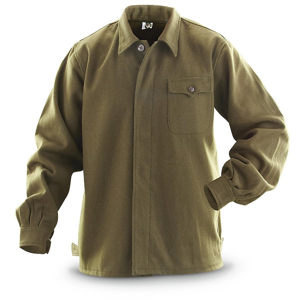 Military-style Wool Field Shirt, Hunter Green