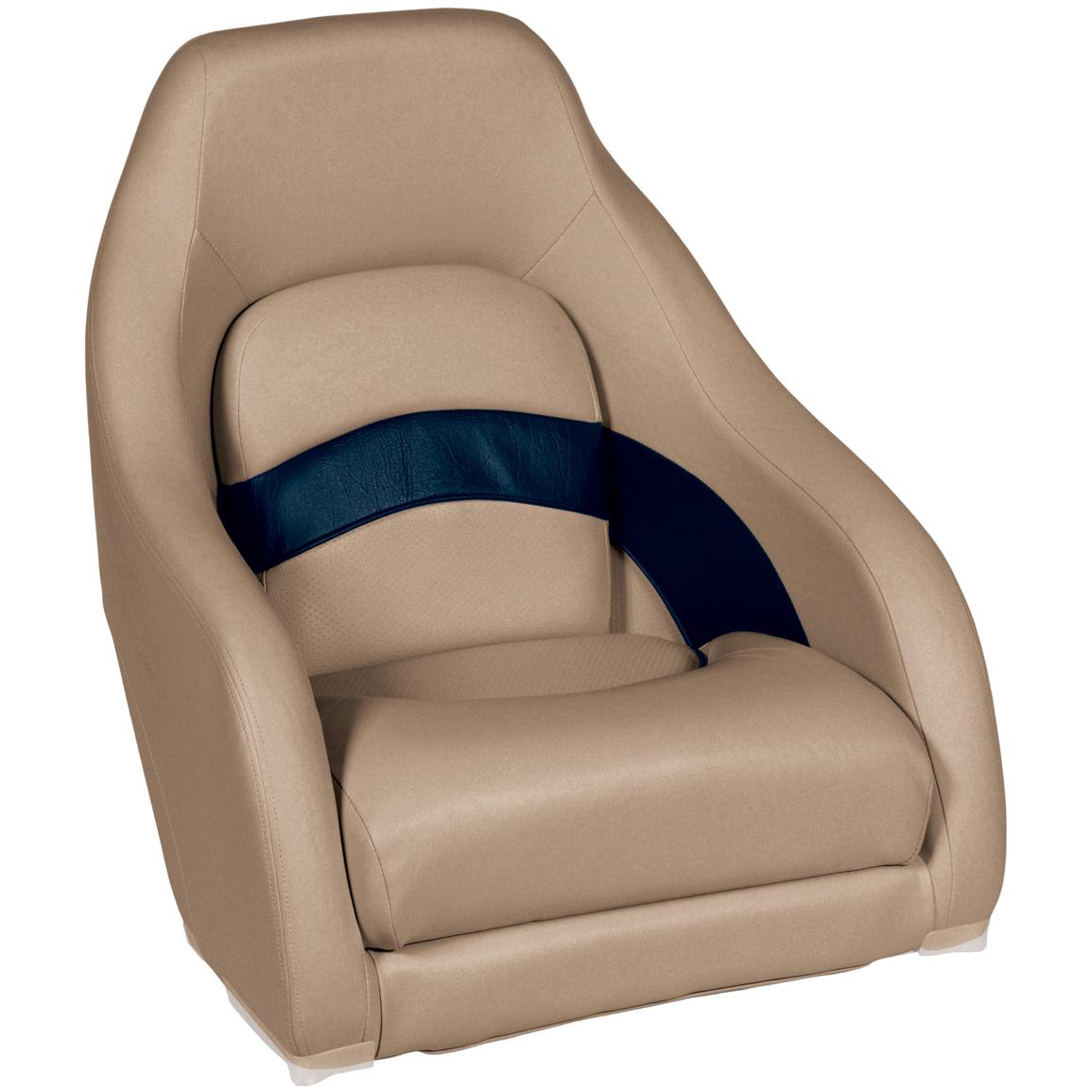 Wise Premier 1100 Series Pontoon Captain's Bucket Seat, Color D: Mocha / Mocha Java Punch / Navy / Rock Salt