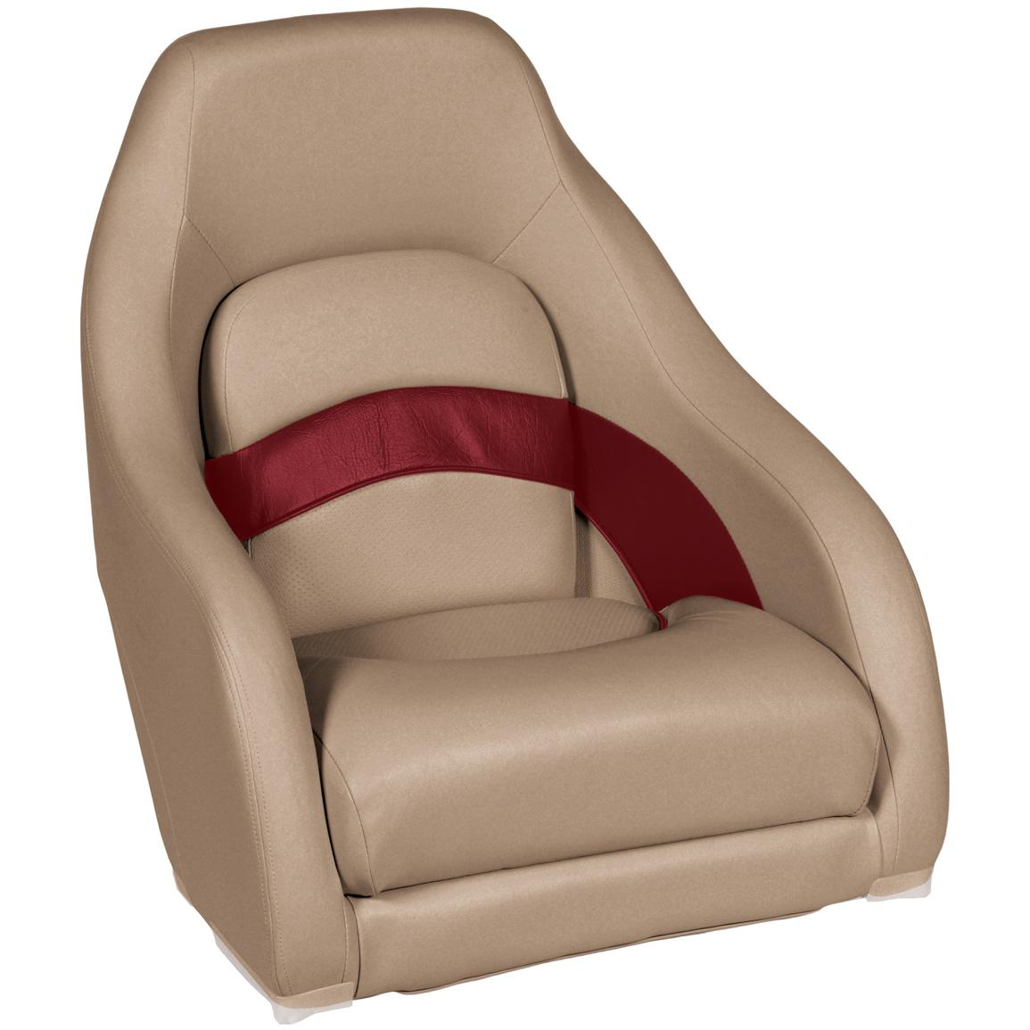 Wise Premier 1100 Series Pontoon Captain's Bucket Seat, Color E: Mocha / Mocha Java Punch / Dark Red / Rock Salt