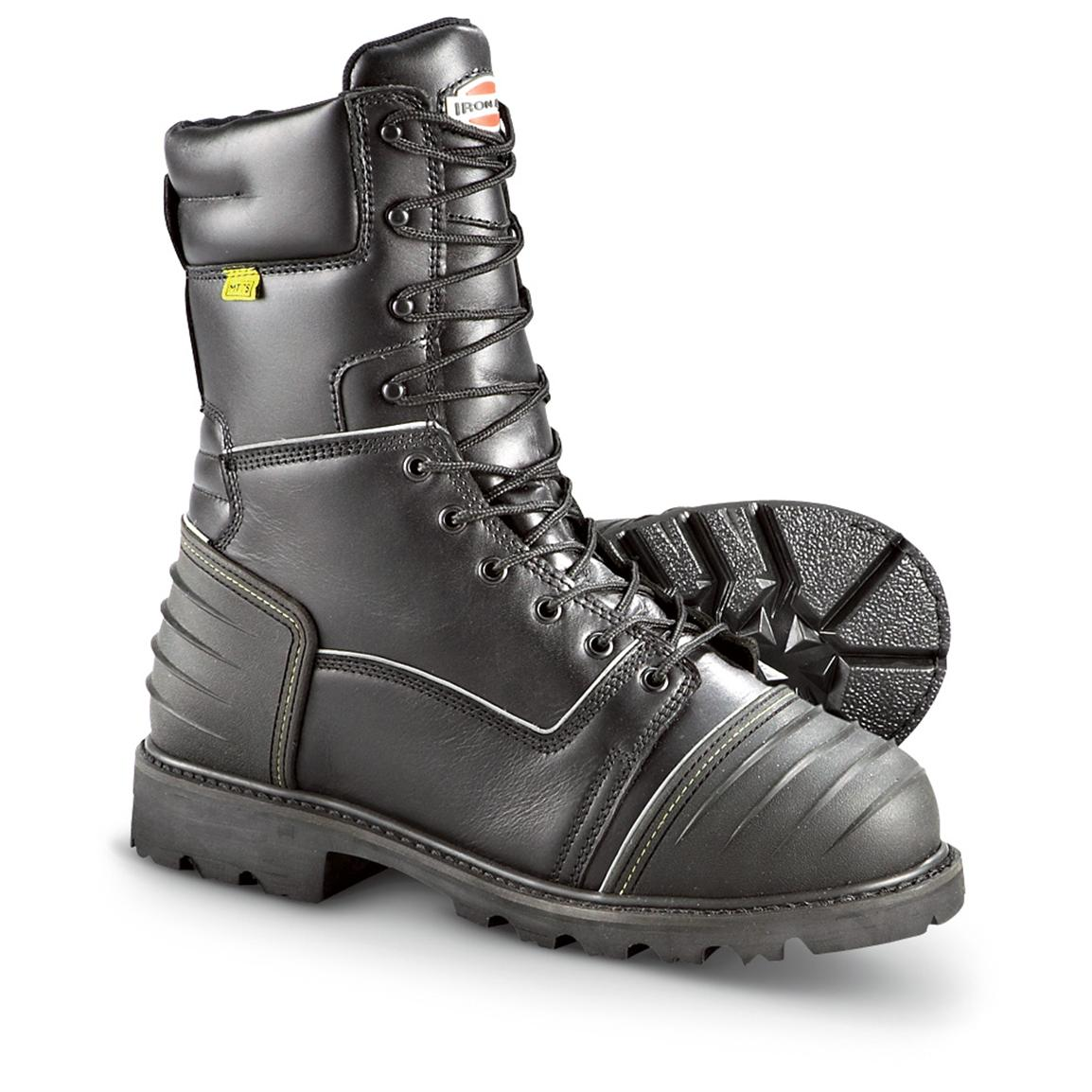 "Men's Iron Age® 11"" Waterproof Steel Toe 400 gram Insulated Miner's Work Boots, Black"