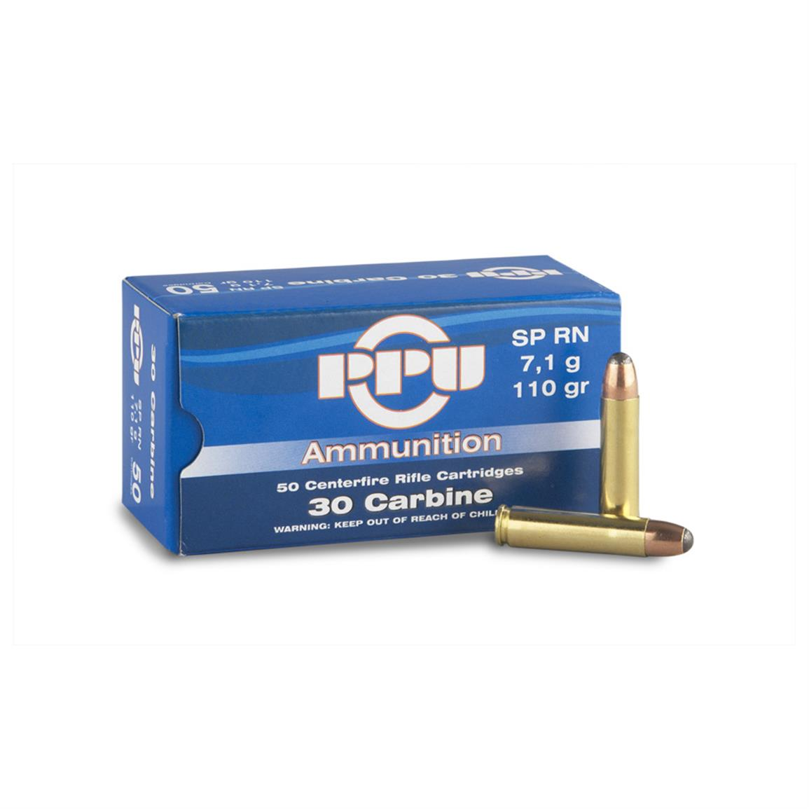 PPU, .30 Carbine, SP, 110 Grain, 50 Rounds