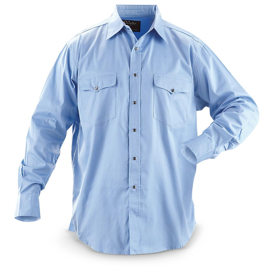 Walls® Performance Snap Work Shirt, Azure Blue