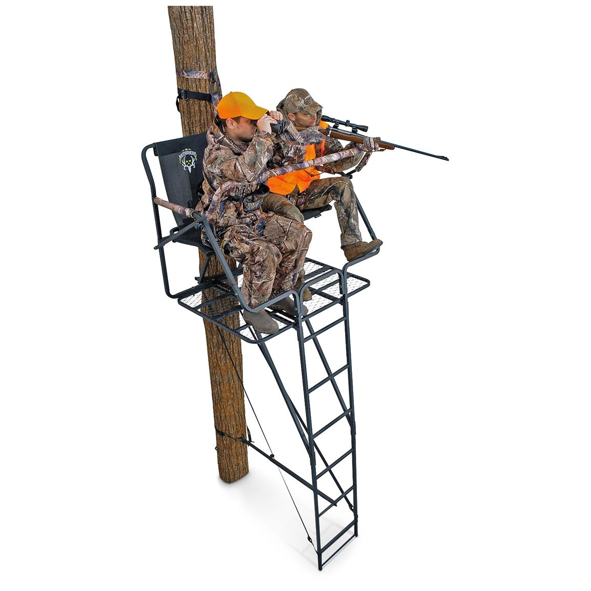 Ameristep® Brotherhood® 17 foot Deluxe 2-person Ladder Tree Stand, Realtree® AP™