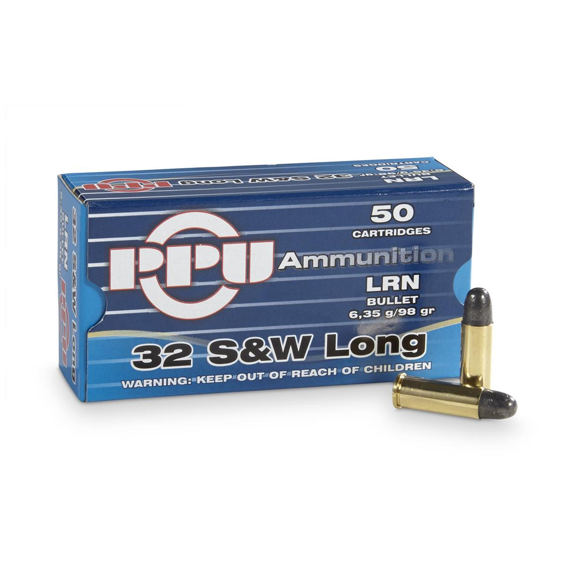PPU, .32 Smith & Wesson Long, 98 Grain, LRN, 50 Rounds
