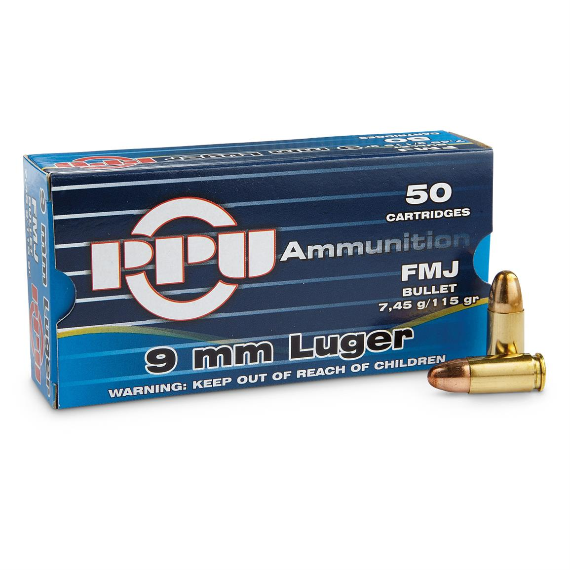 PPU, 9mm Luger, FMJ, 115 Grain, 50 Rounds