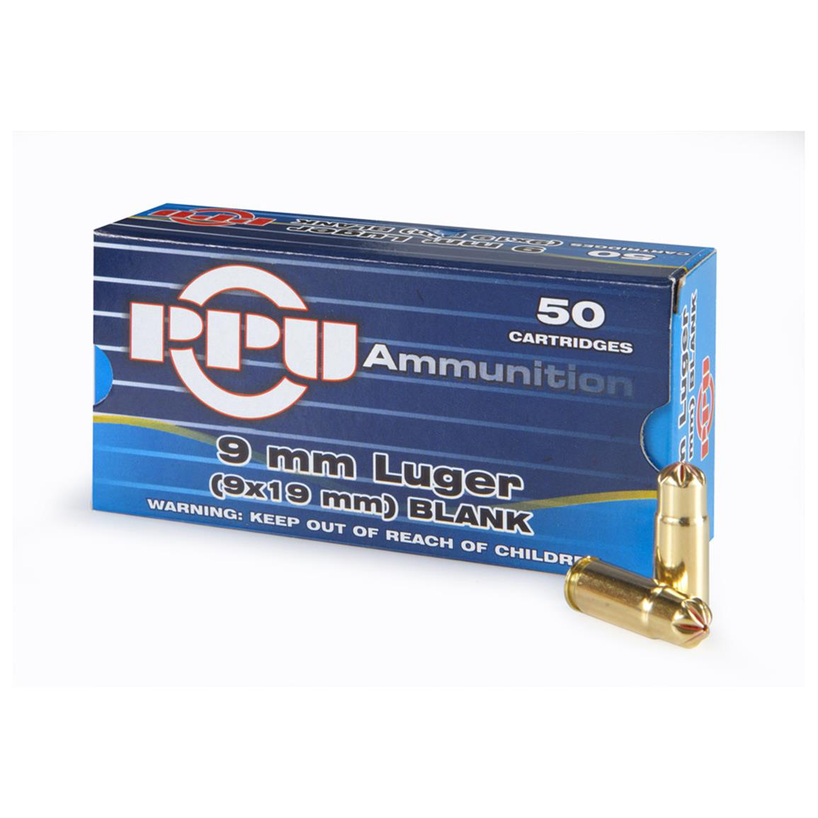 PPU, 9mm Luger, Standard Blank, 50 Rounds
