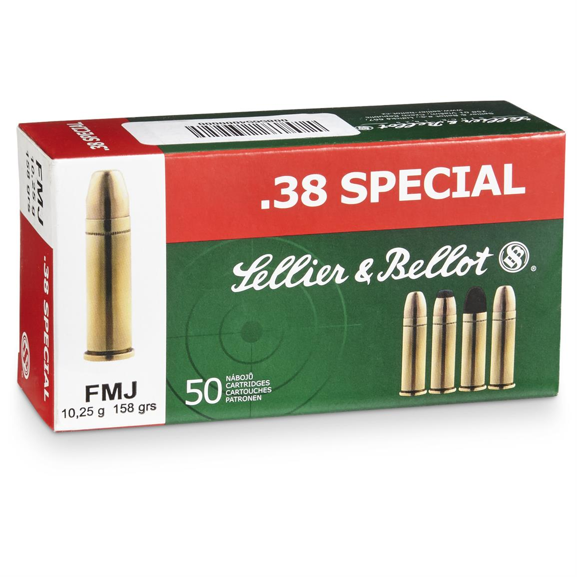 Sellier & Bellot .38 Special, FMJ, 158 Grain, 1,000 Rounds