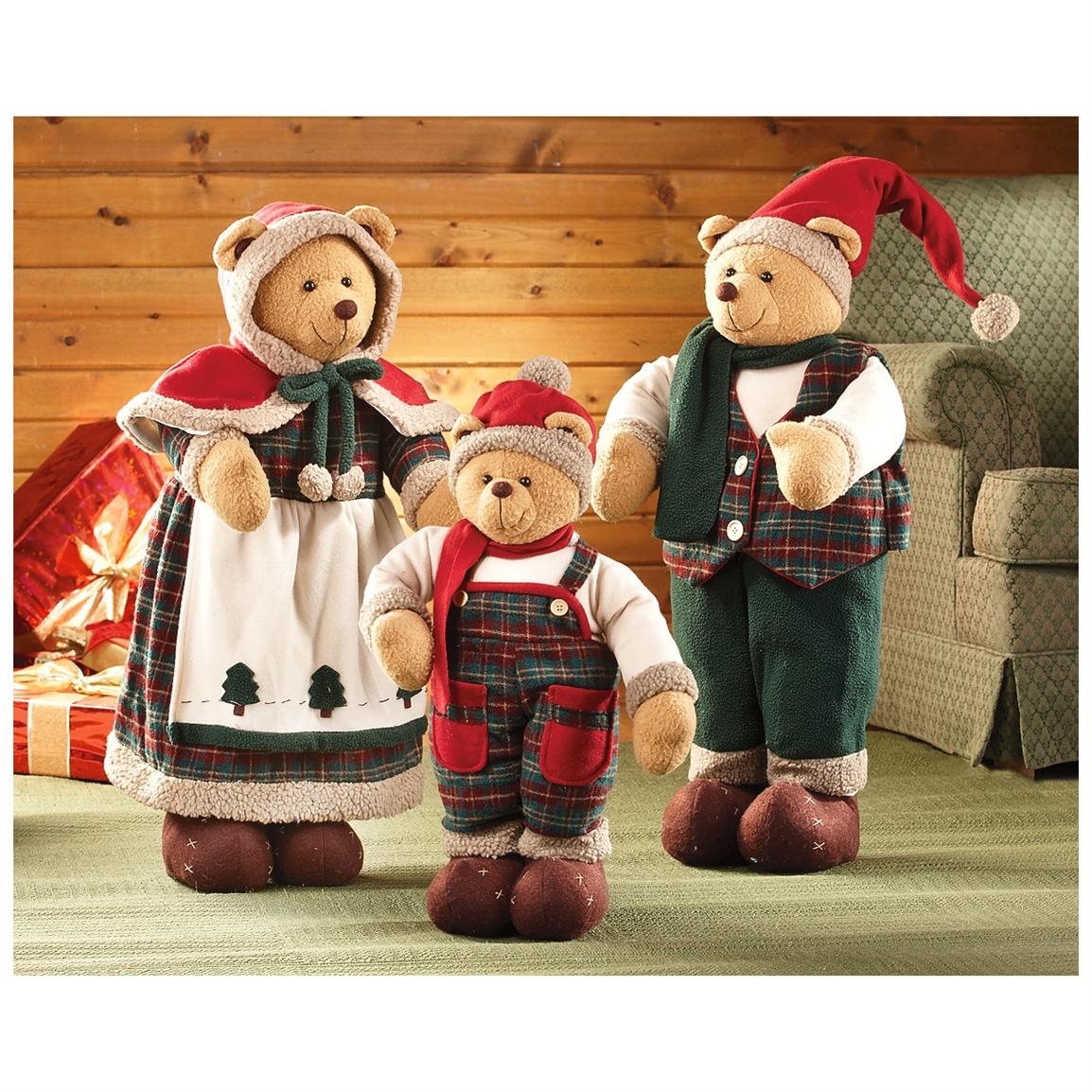 Handcrafted Santa Bears Family