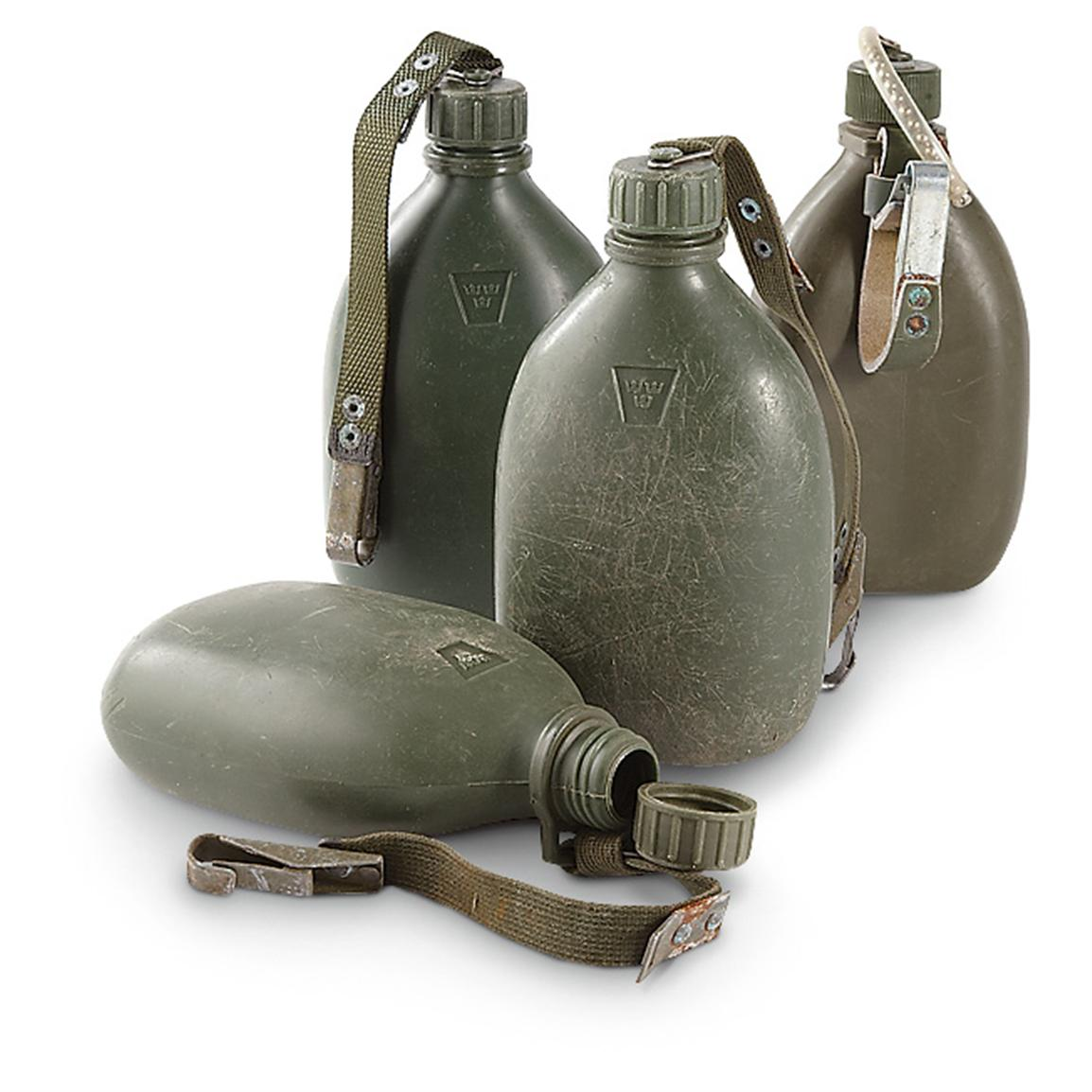 4 Used Swedish Military Molded Canteens, Olive Drab
