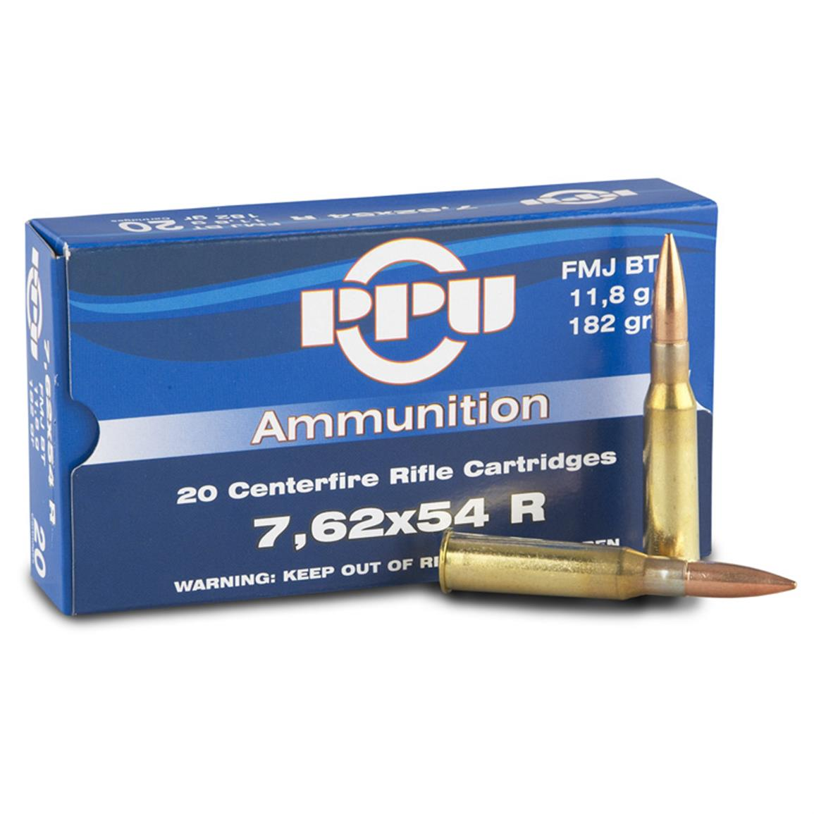 PPU 7.62x54R 182 Grain FMJ-BT 20 rounds (Box photoed is for illustrative purposes only, offer is for PPU 7.62x54R)