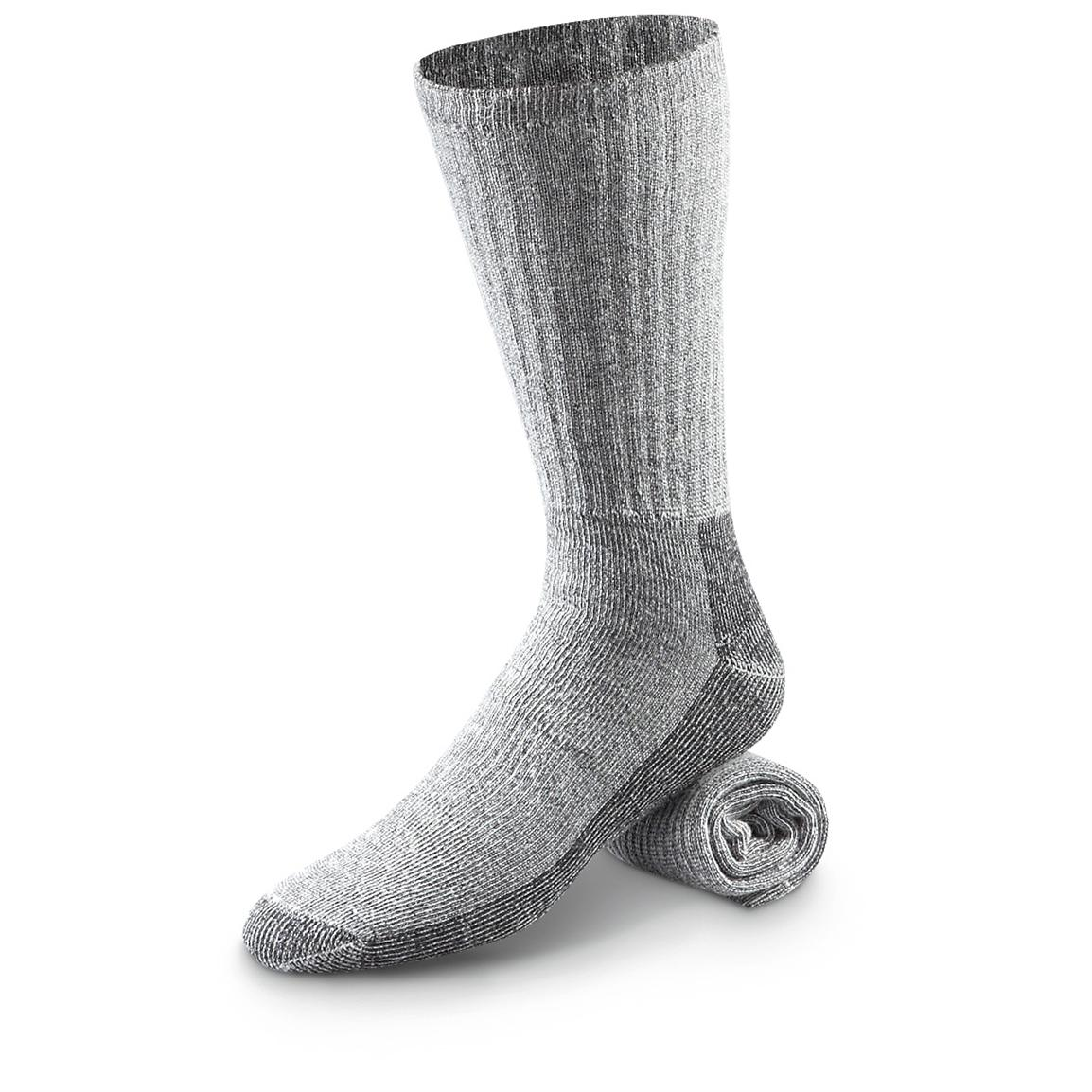 6 Prs. of Woolrich® Mid-weight Wool Hiker Socks, Charcoal
