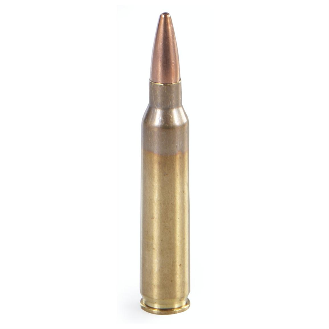 Current-production, non-corrosive, boxer-primed. Reloadable brass case.