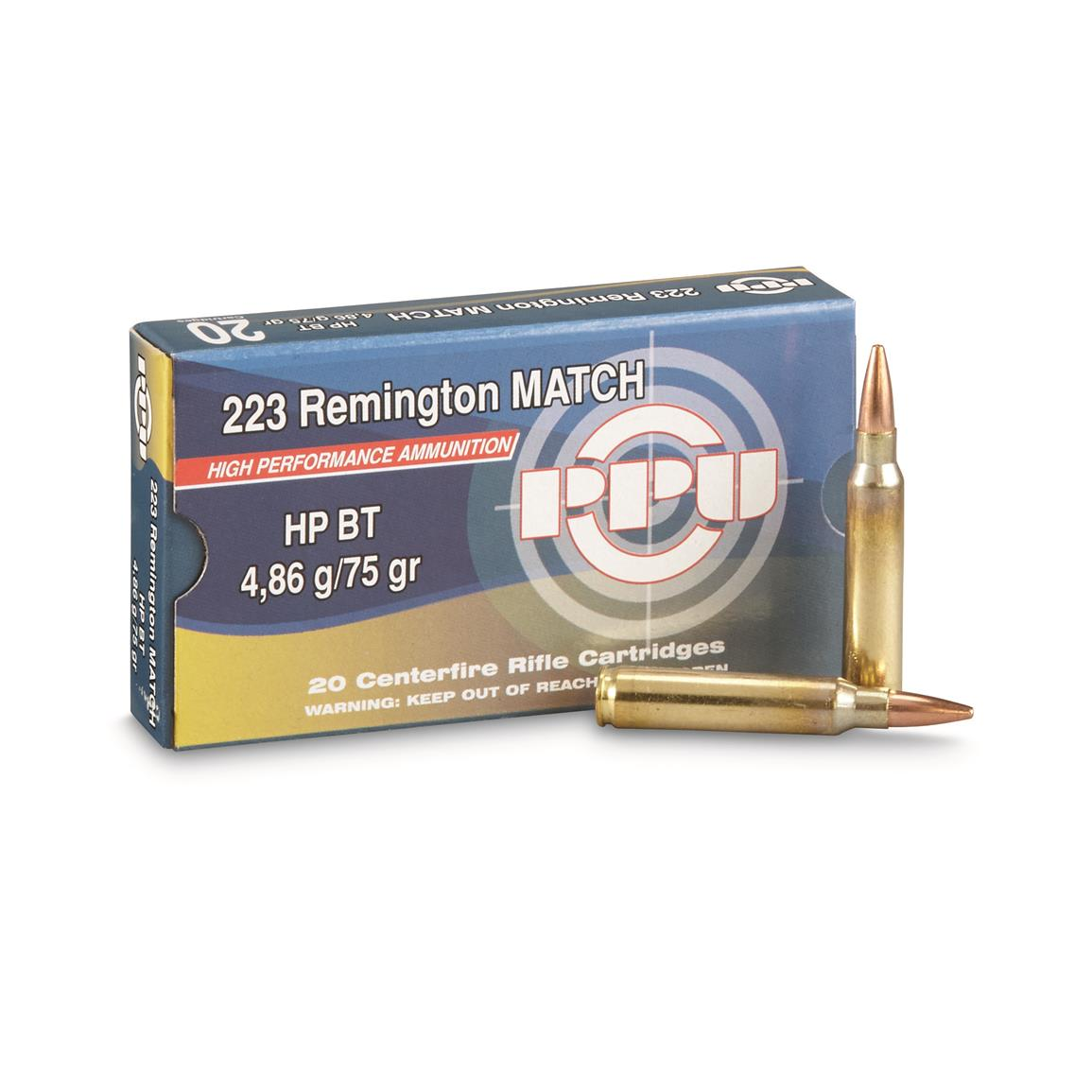 PPU, .223 Rem., Match HPBT, 75 Grain, 20 Rounds