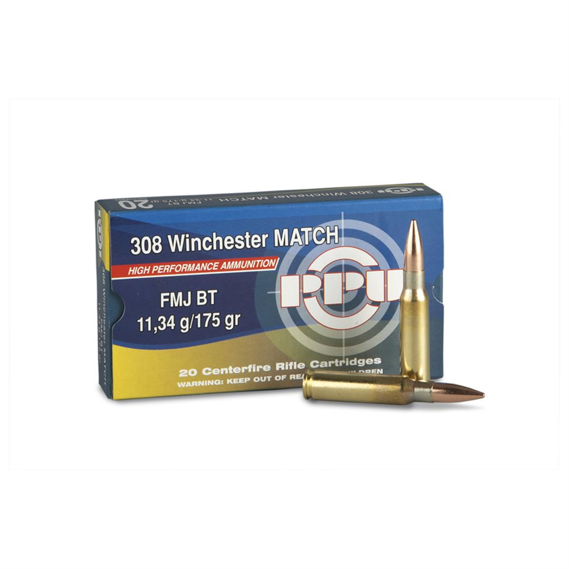 PPU .308 Win. 175 Grain Match FMJ BT 20 rounds
