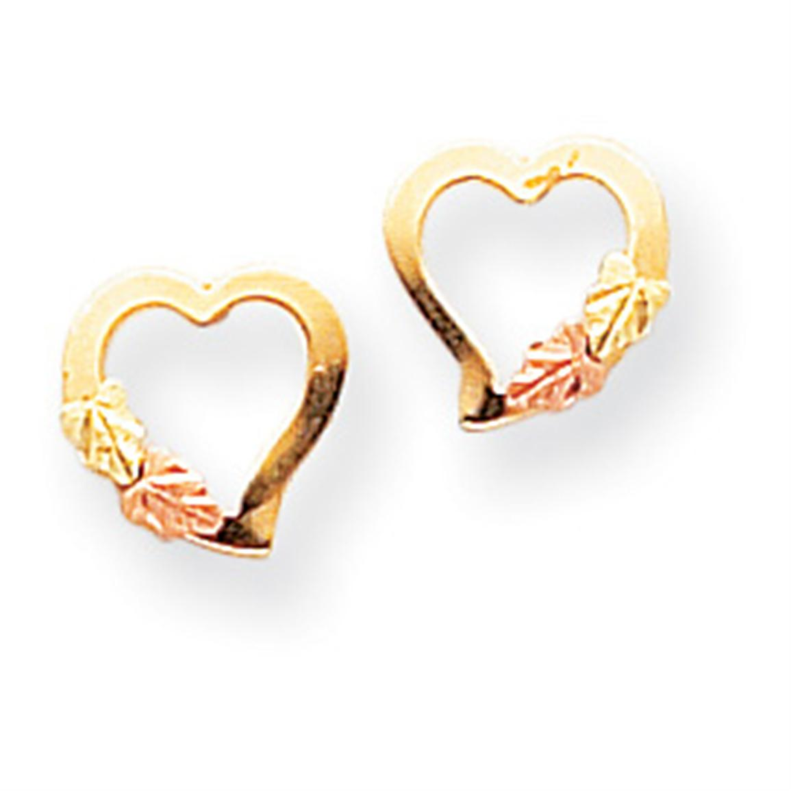 Black Hills Gold 10K Heart Earrings