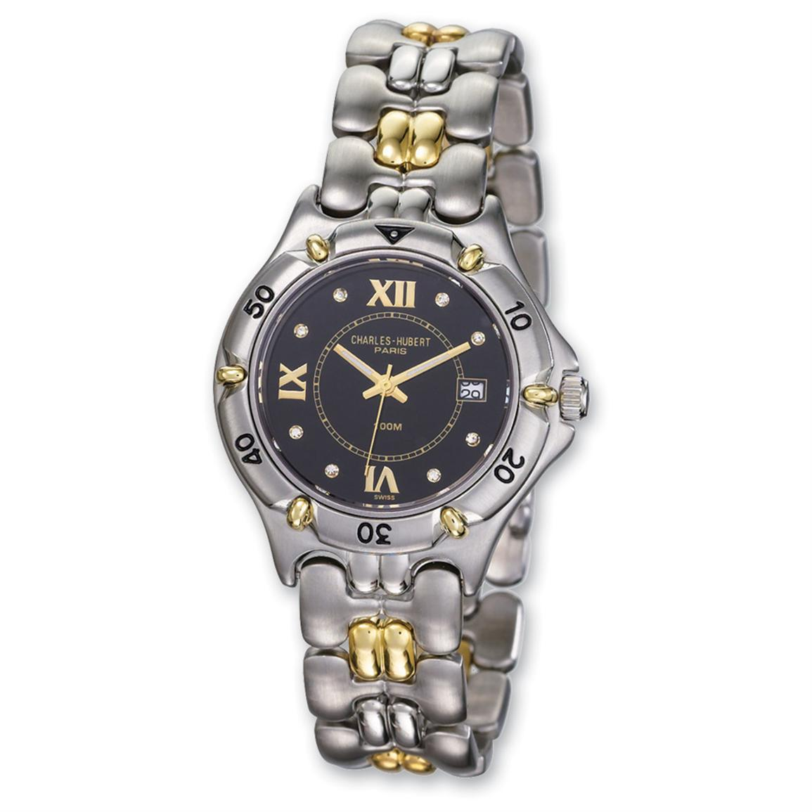 Men's Charles-Hubert® Stainless Steel / 18-ct. Gold / Diamond Accent Watch, Black