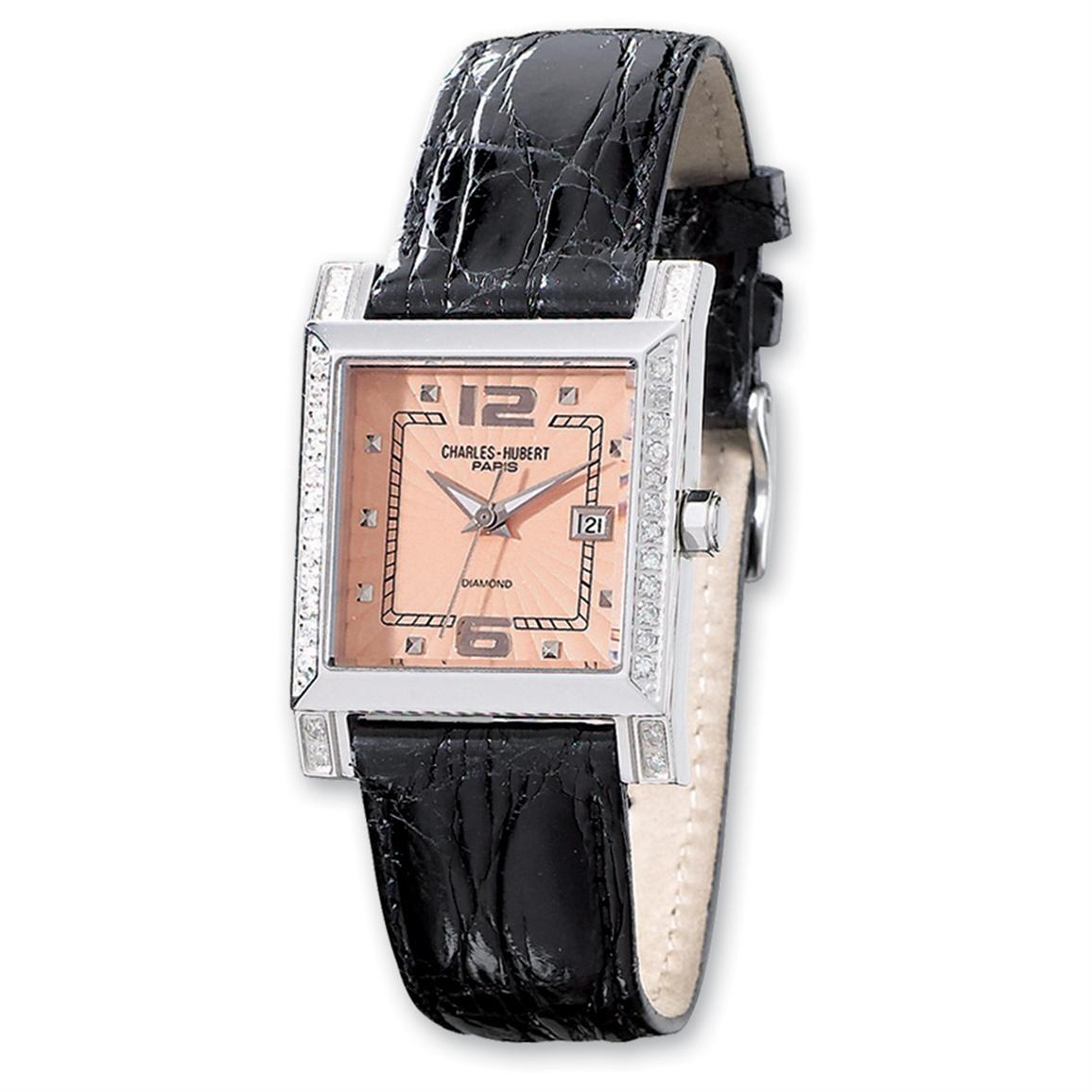 Women's Charles-Hubert® Square Dial / Diamond Accent Watch, Peach
