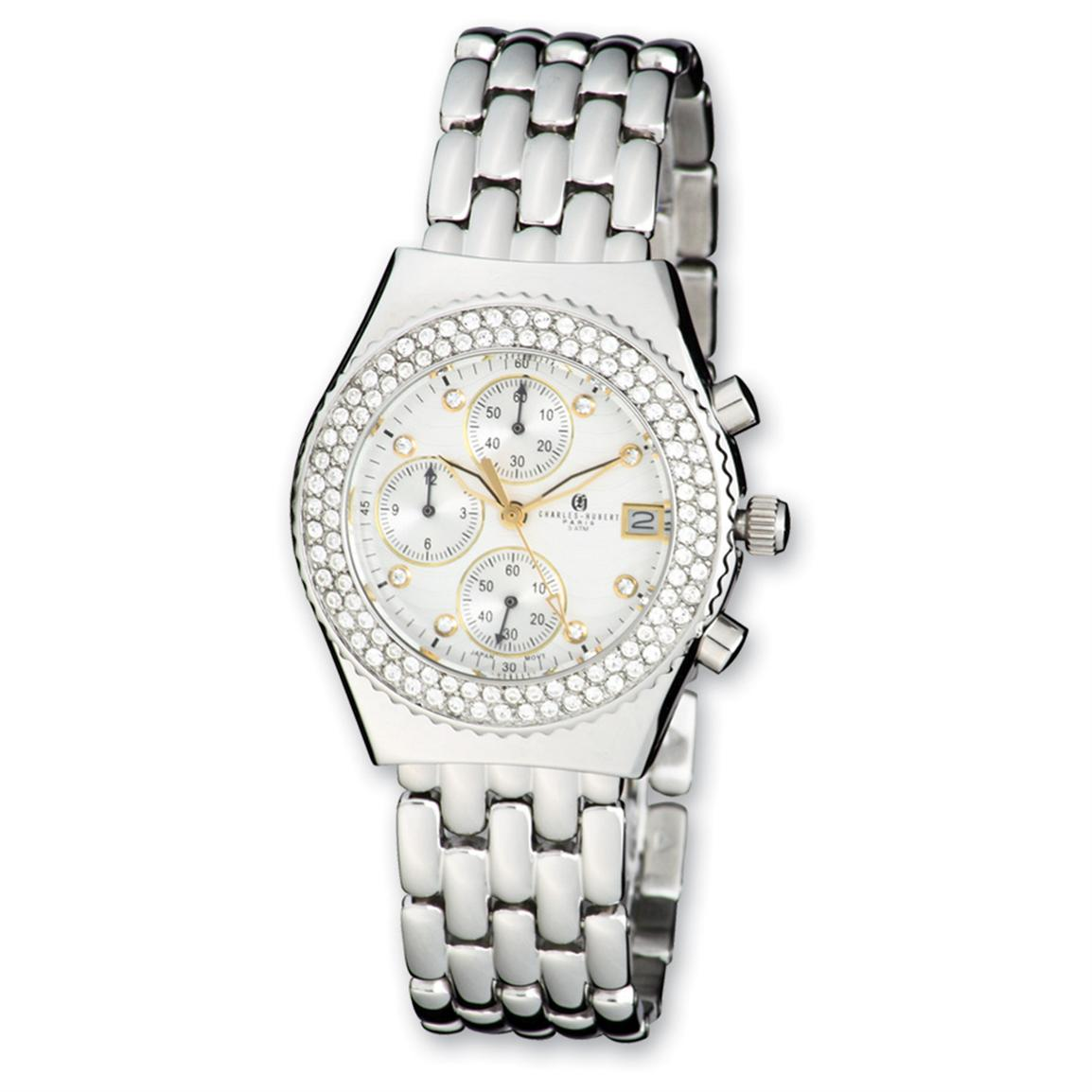 Women's Charles-Hubert® Stainless Steel / Crystal Bezel Chronograph Watch