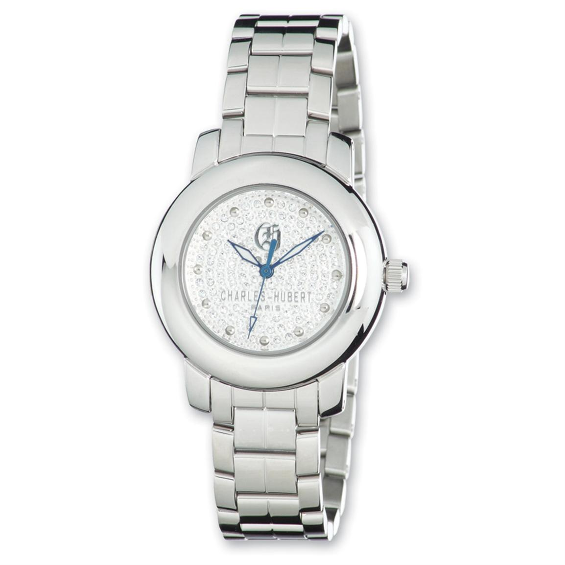 Women's Charles-Hubert® Swarovski® Crystal Dial Watch, Stainless Steel