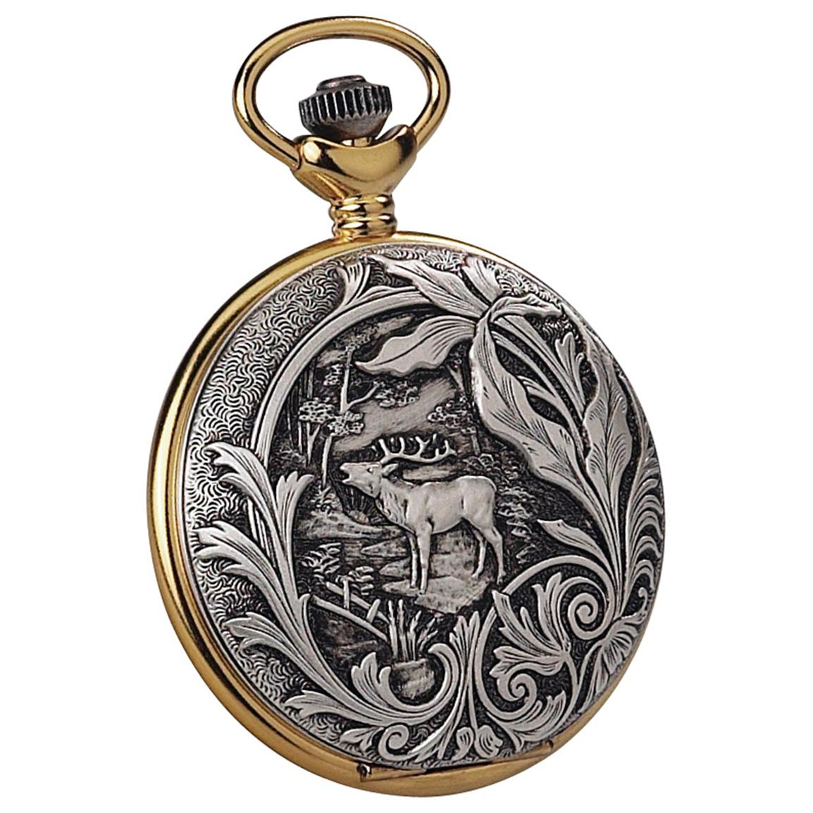 Jacques du Manoir Two-tone Wildlife Pocket Watch