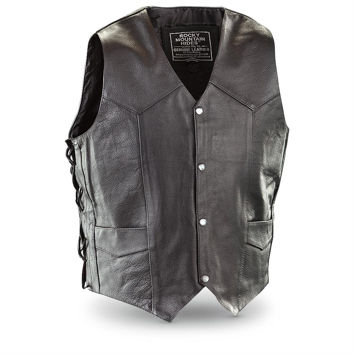 Rocky Mountain Hides™ Embroidered Leather Vest, Black, Front