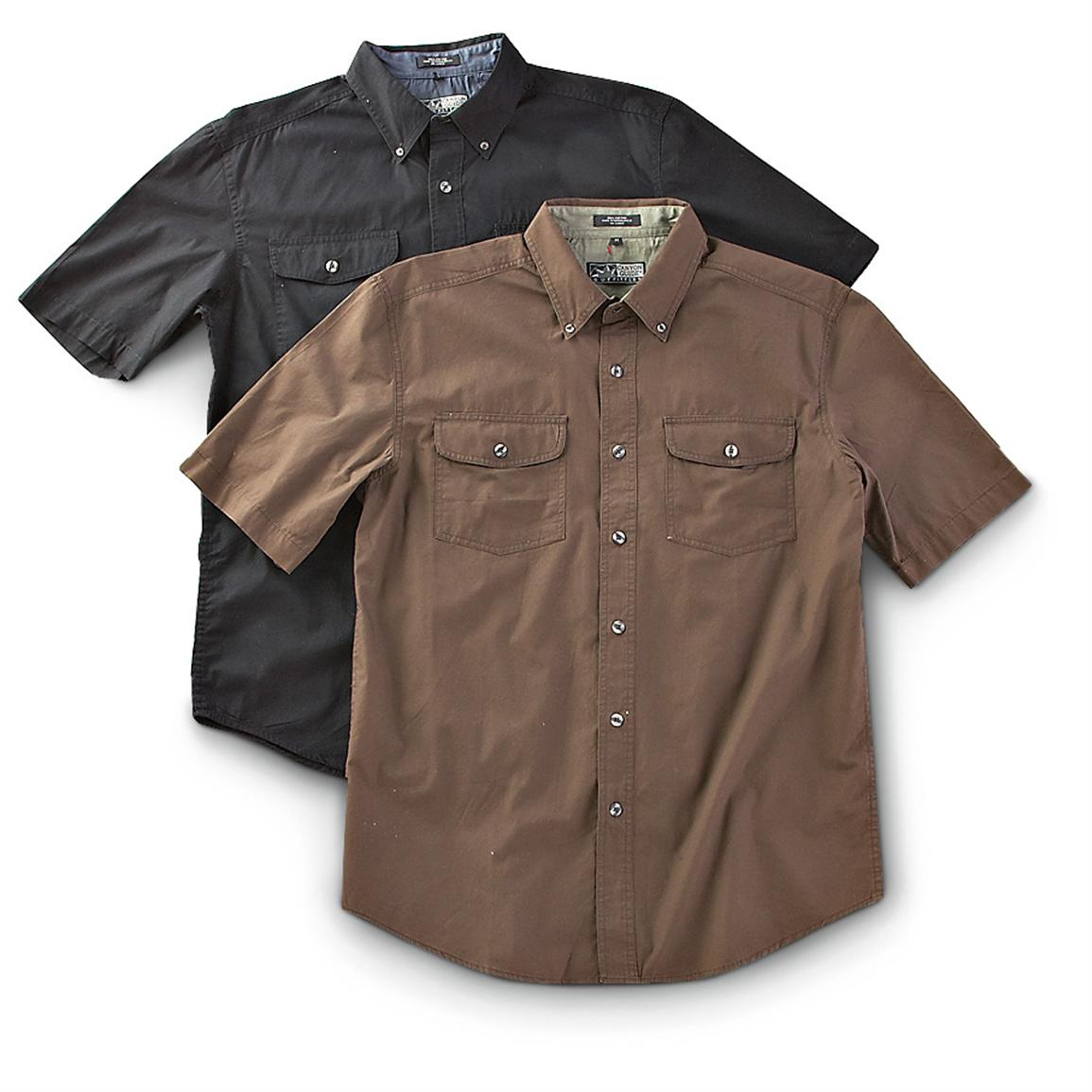 2 Canyon Guide® Short-sleeved Twill Shirts, Gray / Moss