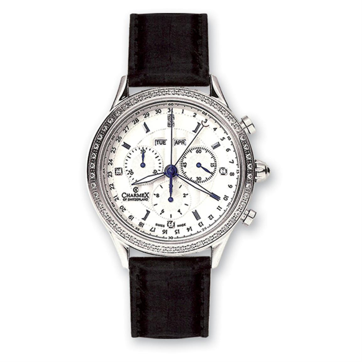 Men's Charmex Chronograph Watch with Genuine Leather Band, Stainless Steel