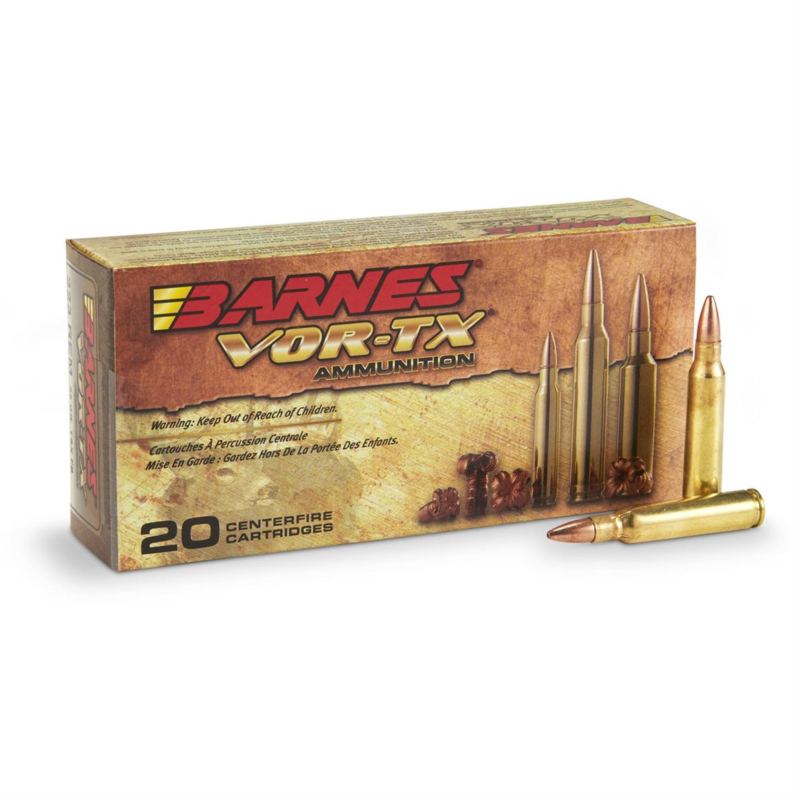 Barnes VOR-TX .223 Remington, TSX Rifle Ammo, 55 Grain, 20 Rounds