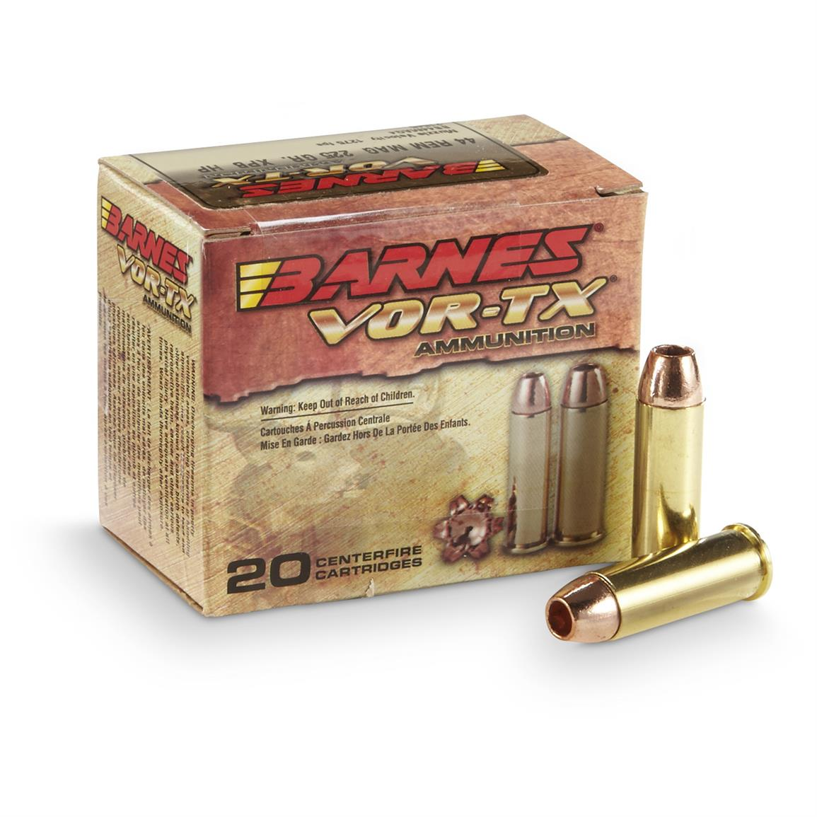 Barnes VOR-TX, .44 Remington Magnum, XPB HP, 225 Grain, 20 Rounds