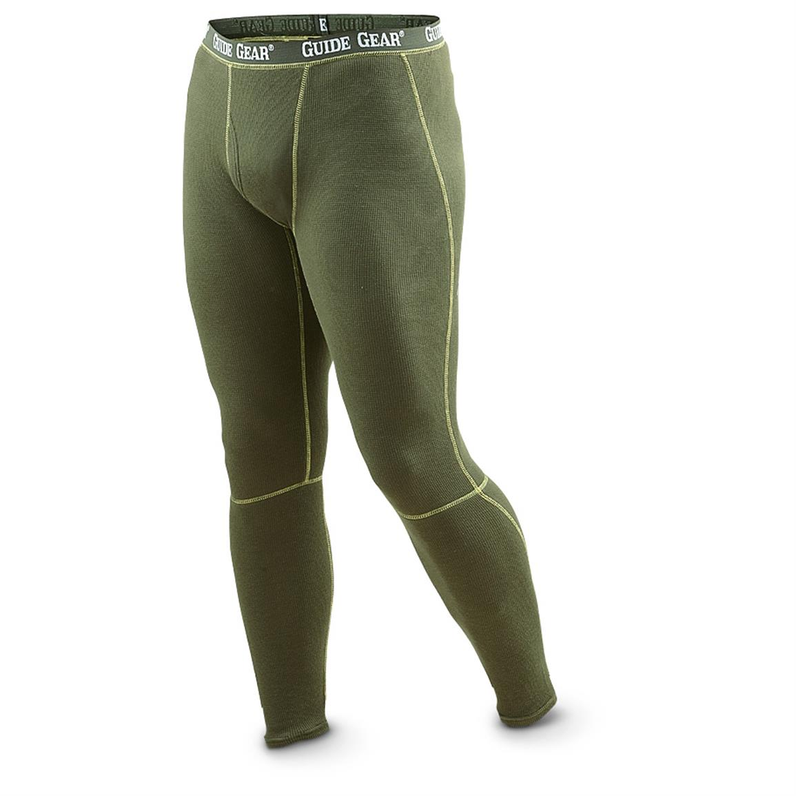 2-Pk. of Guide Gear® Thermaweave Stretch Base Layer Pants, Olive