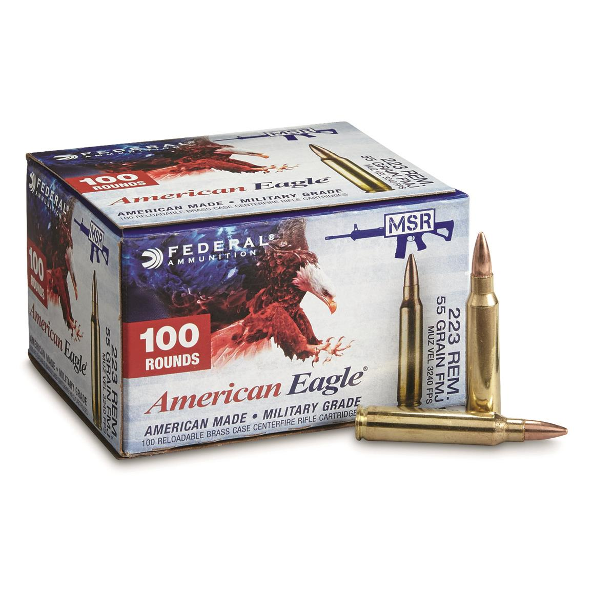 Federal® American Eagle™ .223, 55 Grain FMJ Ammo, 500 rounds