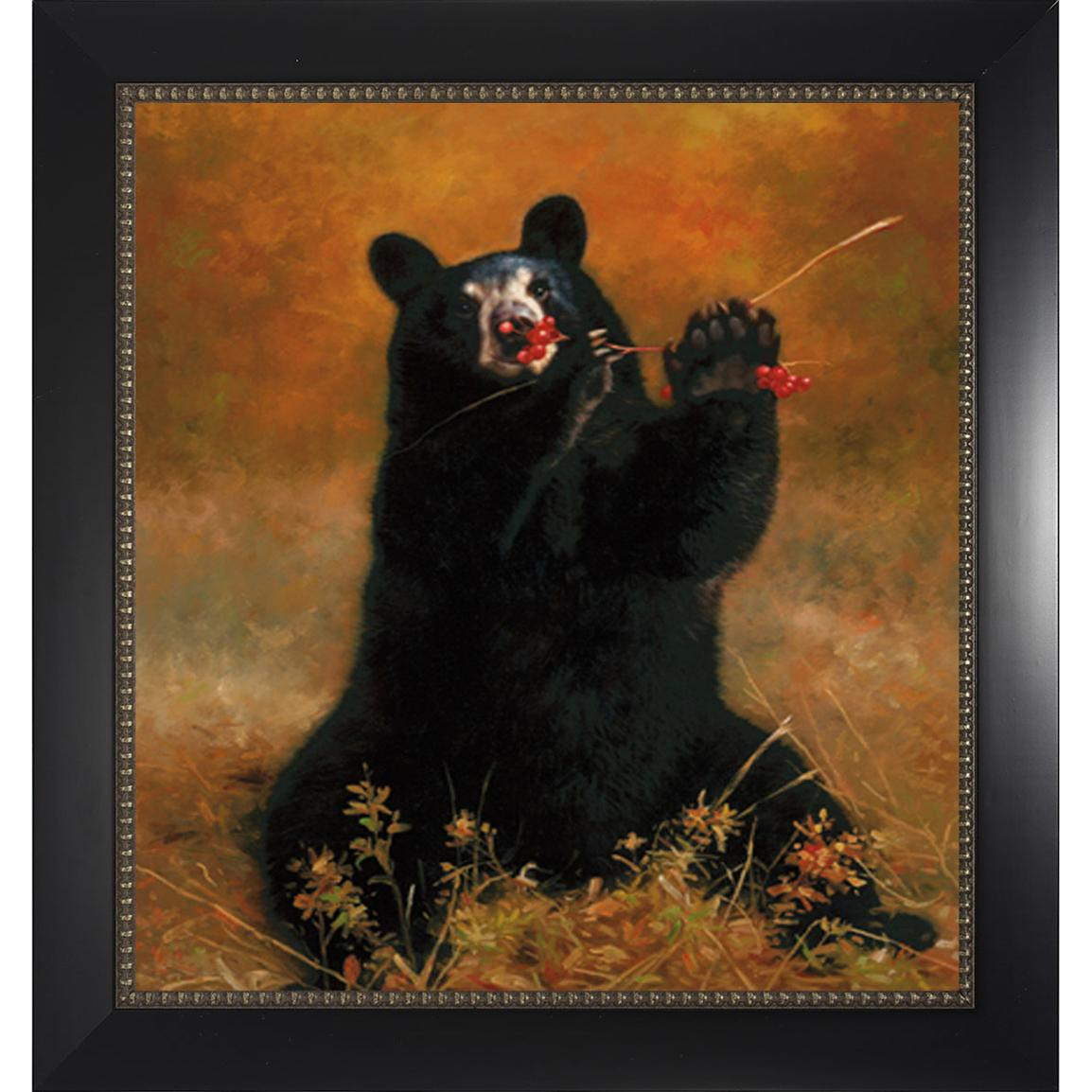 Black Bear with Berries Wall Art Print